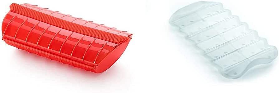 Lékué - Estuche de vapor, 1-2 personas, color rojo + Bandeja multifuncion transparente BLANCA, Silicona, 19 x 10.5 x 2 cm