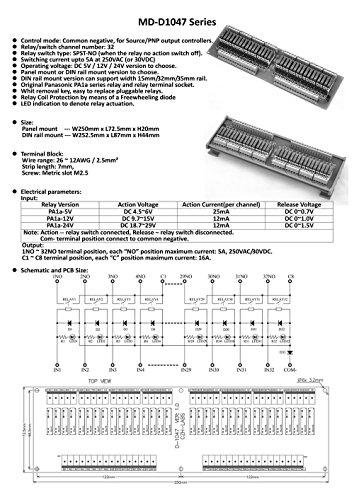 ELECTRONICS-SALON Slim DIN Rail Mount DC12V Source/PNP 32 SPST-NO 5A Power Relay Module, PA1a-12V by CZH-LABS (Image #2)