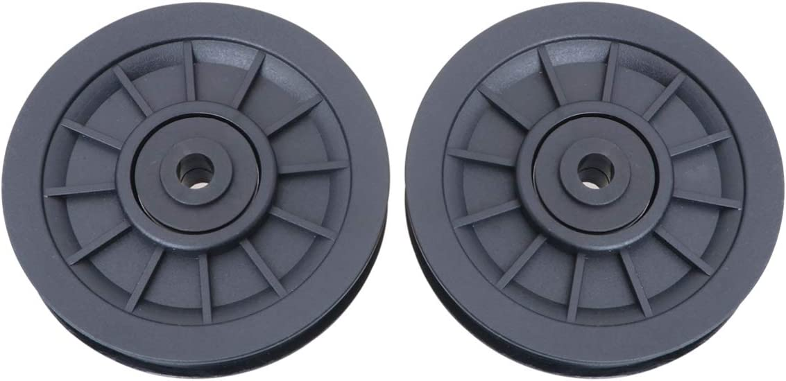 BESPORTBLE 2PCS Bearing Pulley Wheels, Universal Replacement Pully Wheel Wearproof Pulley Replacement Parts for Gym Fitness Black