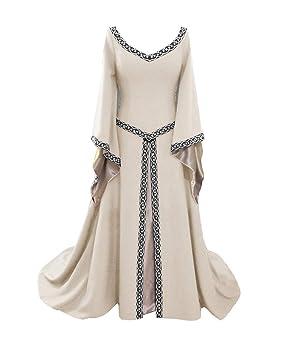Vestido Medieval Mujer Mangas Largas Renacimiento Gótico Maxi Vestidos Blanco S