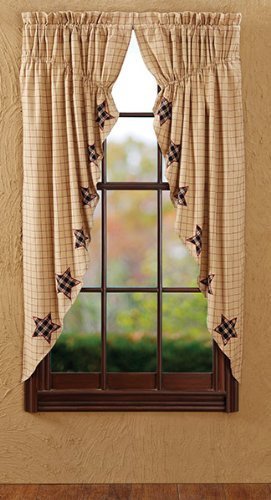 Company Prairie Star - VHC Brands Bingham Star Lined Rod Pocket Prairie Curtain (Set of 2)