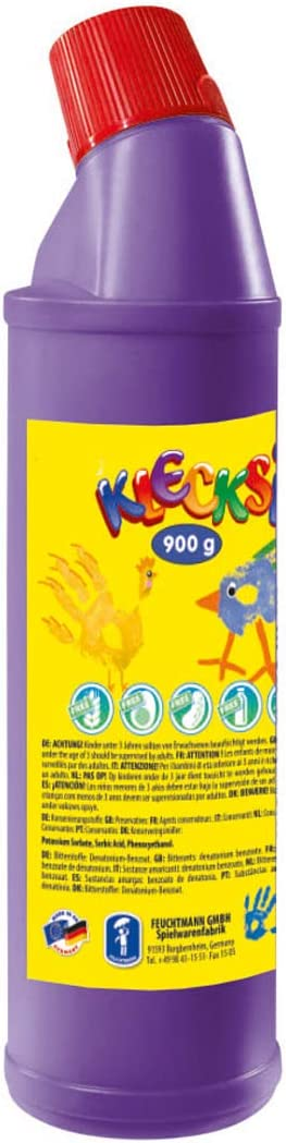 Feuchtmann Juguetes 633060-16 - Klecksi Pintura de Dedos Botella Grande, 900 g en la Botella, púrpura