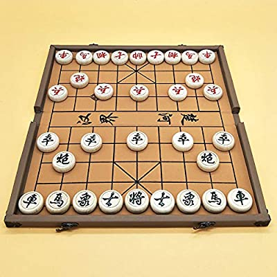 Elloapic Beechwood Xiangqi Chinese Chess Set with Folding Box and Chess Board, Large Size, 4CM Diameter, Case's Color May be Vary