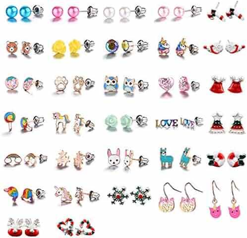 Hypoallergenic Earrings for Girls Kids, 32 Pairs Colorful Stud Christmas Earrings, Animal Alpaca Rainbow Unicorn Cute Earring Jewelry Set Gifts for Girls Kids Women