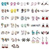 Hypoallergenic Earrings for Girls Kids, 32 Pairs Colorful Stud Christmas Earrings, Animal Alpaca Rainbow Unicorn Cute Earring Jewelry Set Gifts for Girls Kids Women: more info