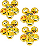 Novelty Treasures Set of 24 Expressive Emoji Plastic Masks (Size 8.75'') Birthday Halloween Costume Party Supplies
