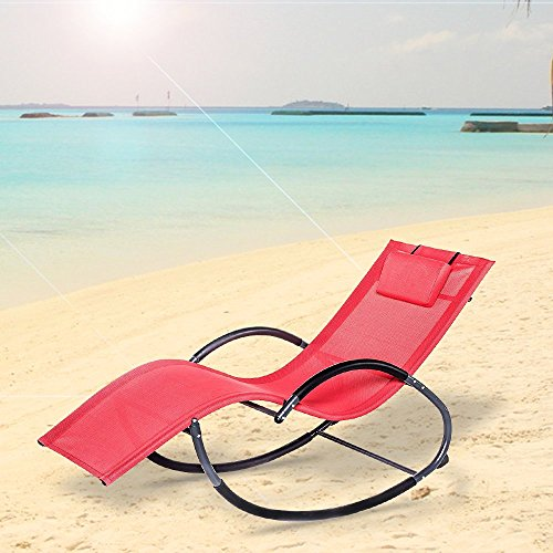 - LUCKUP Outdoor Patio Iron Zero Gravity Chair Orbital Rocking Lounge Chair with Pillow Wave Rocker,Patio Chaise Lounge Rocking Lounger, Outdoor Lounge Chair (G Stlye, RED)