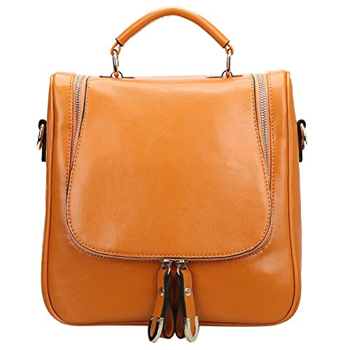 S ZONE Leather Shoulder Convertible Backpack