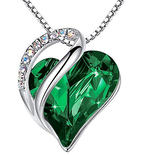 """Leafael""""Infinity Love"""" Heart Pendant Necklace Made with Swarovski Crystals Emerald Green May Birthstone Jewelry Gifts for Women, Silver-tone, 18″+2″, Presented by Miss New York"""