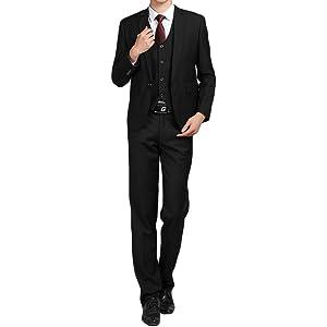 Masvis スーツセット メンズ ビジネススーツ 1つボダン 無地 ジャケット 上下セット スーツ セットアップ スリム 上質 ジェントルマン 光沢あり 立体裁断 通勤 就活