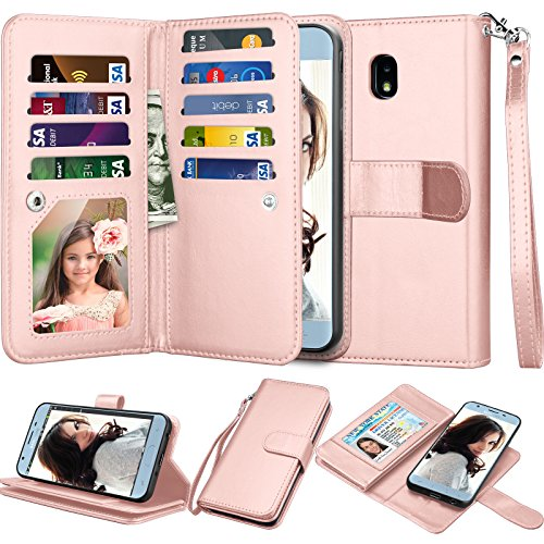 Njjex Galaxy J7 2018 Wallet Case, for Samsung J7 Refine/J7 V 2nd/J7 Aero/J7 Aura/J7 Top/J7 Crown/J7 Eon/J7 Star Case, PU Leather ID Credit Card Slots Holder Kickstand Flip Cover & Lanyard [Rose Gold]