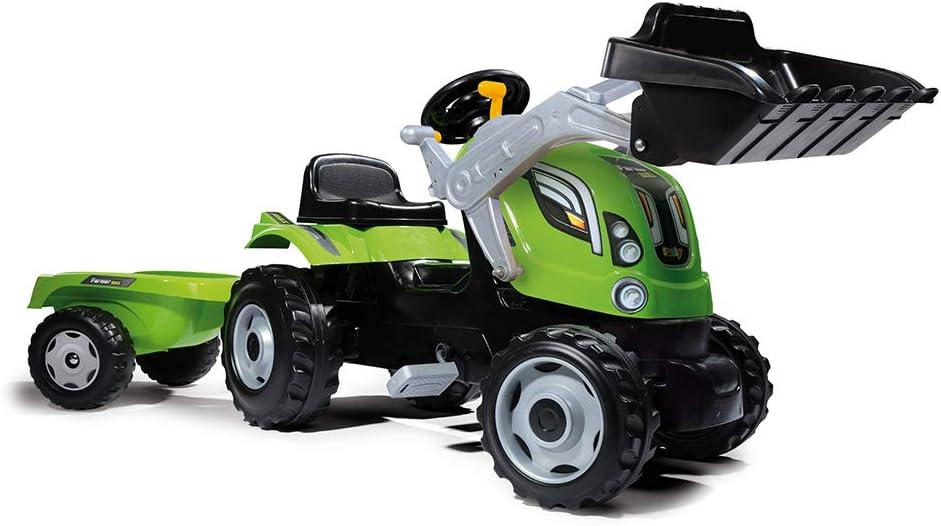Smoby 710109 Farmer Max Tractor a pedales con remolque y pala, Verde,  3-6 años