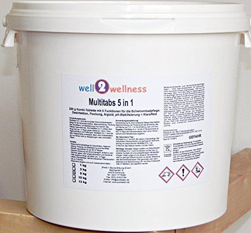 Chlor Multitabs 5 in 1 200g mit 96% Aktivchlor - 10 kg (2 x 5 kg)