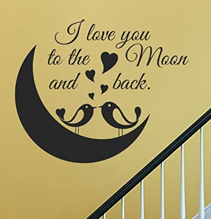 Amazon.com: Slap-Art I love you to the moon and back cute love birds ...