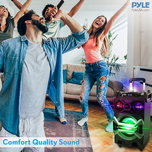 Pyle 500 Watt Outdoor Portable BT Connectivity Karaoke Speaker System - PA Stereo with 8'' Subwoofer, DJ Lights Rechargeable Battery Microphone, Recording Ability, MP3/USB/SD/FM Radio - PWMA325BT by Pyle (Image #5)