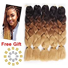 "Jiayi 24"" 5pcs Afro Synthetic Jumbo Braiding Hair Extension Ombre Kanekalon Fiber Twist Hair Multiple Tone Colored Braiding Hair (Black/D-Brown/L-Brown)"