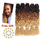 Jiayi 24' 5pcs Afro Synthetic Jumbo Braiding Hair Extension Ombre Kanekalon Fiber Twist Hair Multiple Tone Colored Braiding Hair (Black/D-Brown/L-Brown)