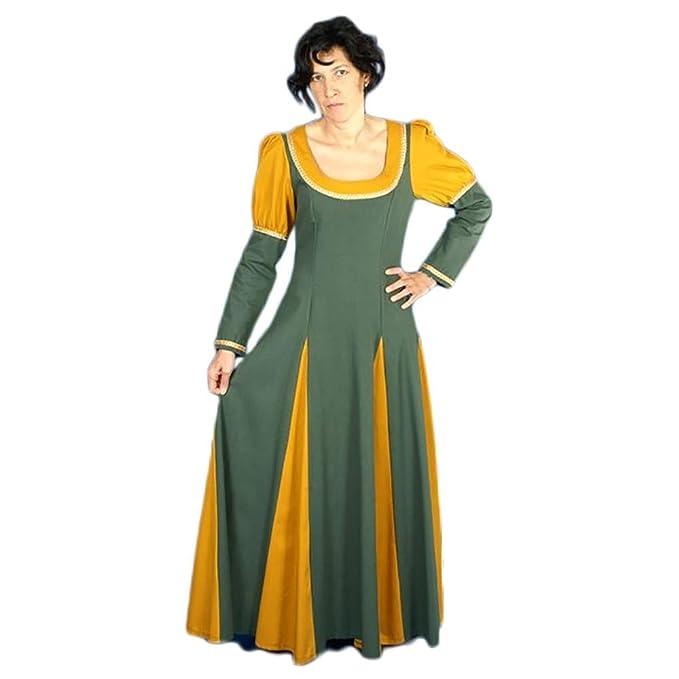 Carassa Traje medieval mujer Adelais Color VERDE/MOSTAZA ...