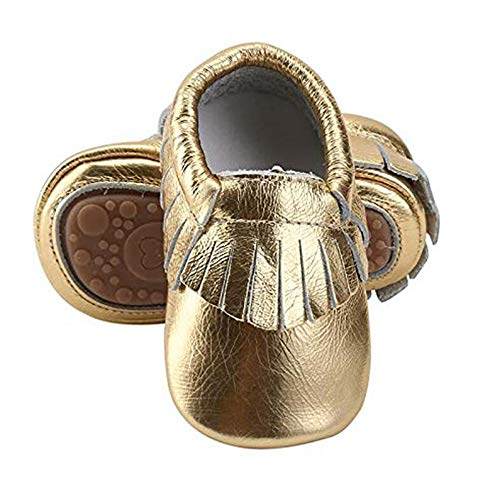- HONGTEYA Leather Baby Moccasins Hard Soled Tassel Crib Toddler Shoes for Boys and Girls (12-18 Months/5.12inch, Pale Yellow)