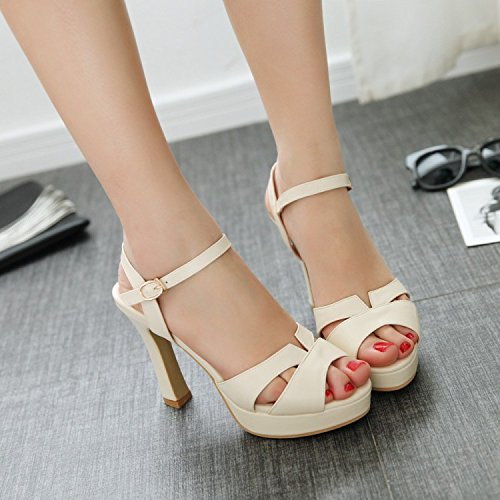 Casual Heels Heels Shoes Match All KPHY Korean Summer Rough Fish Apricot Waterproof Sandals Mouth High ng7qU