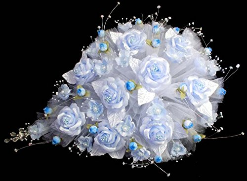 Tear Drop Bridal Quinceanera Sweet 15 Silk Flower Bouquets - US Handmade - Baby Blue Color (18922 - Us Com Www Tiffany