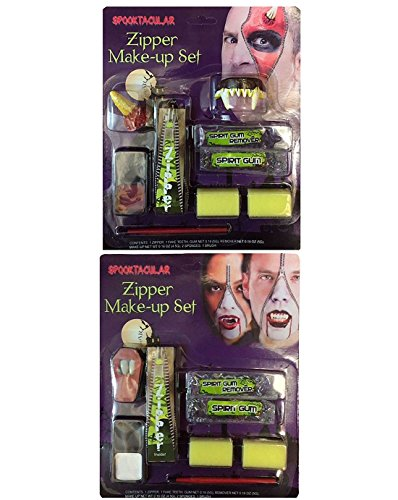 Rimi Hanger Adult 2 Assorted Zipper Make Up Kit Unisex Halloween Horror Party Accessory One -