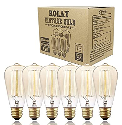 Rolay Vintage Edison Bulbs - 6 Pack - ST64 - Squirrel Cage Filament - 370 Lumens - Dimmable