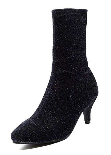 SHOWHOW Damen Glitzer Slip On Sock Boots Stretch Strick
