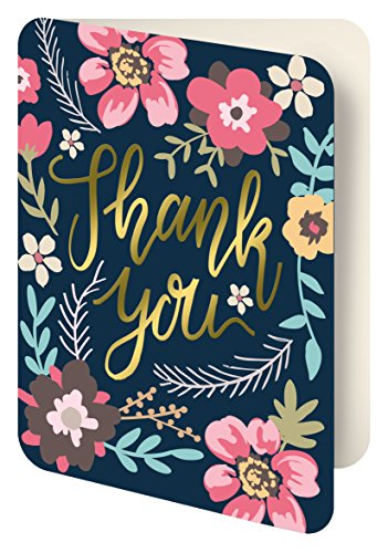 Studio Oh! Foil Stamped Artisan Thank You Notecards, Midnight Garden