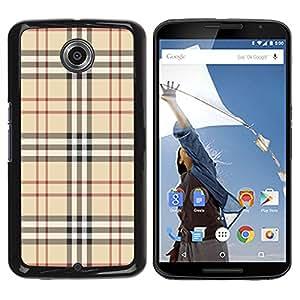 Qstar Arte & diseño plástico duro Fundas Cover Cubre Hard Case Cover para Motorola NEXUS 6 / X / Moto X Pro ( Fashion Brand Fabric Pattern Style Brown Classic)