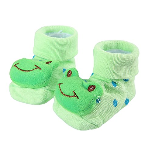 NiceWave Cute Baby Kid Toddler Newborn 3D Cartoon Short Sock Slipper Shoe Children Bootie(Frog) Nice and Useful