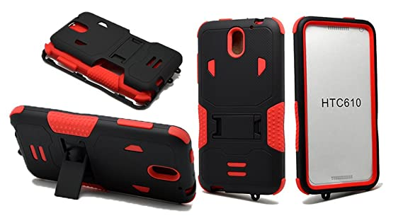 HTC Desire 610 Case, NEM Heavy Duty Armor Tough Rugged Hard Shockproof Hybrid Cover Dual Layer Kickstand Case Ultra Durable Protective Phone Case for ...