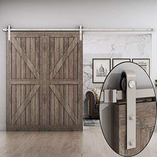 10 FT Sliding Barn Door Hardware Track Kit,Nickel Gray Surface(10 Foot Track Single Door Kit) - Nickel Track