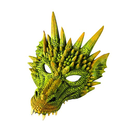 HomeMals Halloween Carnival Animal Dragon Mask Masquerade Adult Party Costume Half Mask Green