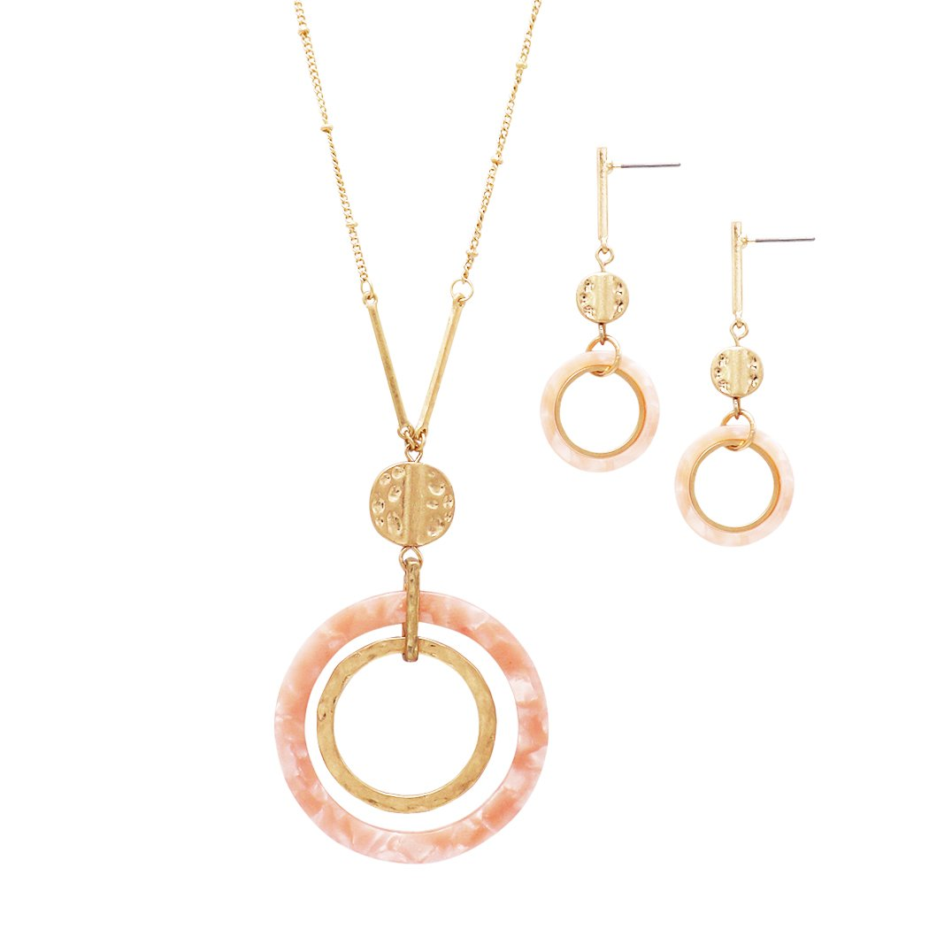 Rosemarie Collections Women's Celluloid Ring, Hammered Disc and Bar Long Strand Necklace Earring Set (Peach)