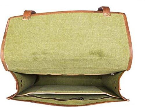 Borsa del computer portatile marrone del cuoio reale di 15% Handmade 100% Uomo d'affari di Look Vintage Office Messenger di spalla di viaggio