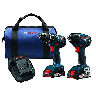 Bosch CLPK232A-181 18V Lithium-Ion Cordless Drill Driver / Impact Combo Kit (2.0 Ah Batteries)
