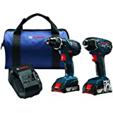 Bosch 18-Volt Cordless Drill Driver / Impact Combo Kit CLPK232A-181 with 2 Batteries (2.0 AH Slim Pack Batteries), 18V Charger and Blue Carrying Case