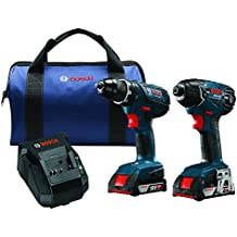 Bosch 18-Volt Cordless Drill Driver/Impact Combo Kit CLPK232A-181 with 2 Batteries (2.0 AH Slim Pack Batteries), 18V Charger and Blue Carrying Case