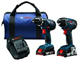 Save on Bosch 18-Volt Cordless Drill Driver / Impact Combo Kit CLPK232A-181 with 2 Batteries (2.0 AH Slim Pack Batteries), 18V Charger and Blue Carrying Case and more