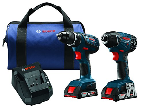 Bosch 18-Volt Cordless Drill Driver/Impact Combo Kit CLPK232A-181 with 2 Batteries (2.0 AH Slim Pack Batteries), 18V Charger and Blue Carrying Case ()