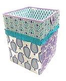 Bacati Isabella Girls Paisley Fabric Collapsible Hamper, Lilac/Purple/Aqua