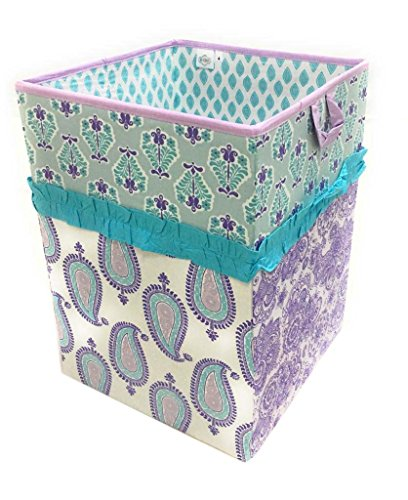 Bacati Isabella Girls Paisley Fabric Collapsible Hamper, Lilac/Purple/Aqua Isabella Nursery Bedding
