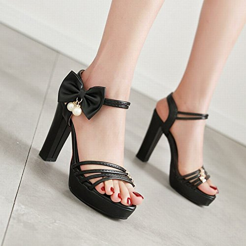 Carolbar Womens Bows Rhinestones Beaded Snaps High Heel Bridal Sandals Black b8rp2qR