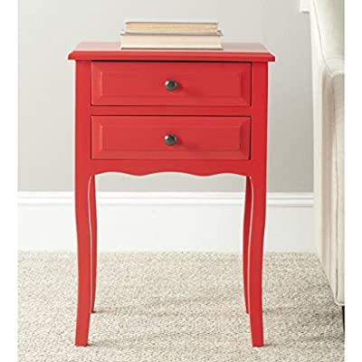 August Grove - Clare 2 Drawer Nightstand Made of Pine Wood, Red