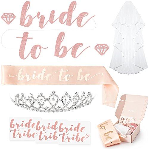 xo, Fetti Rose Gold Pink Bachelorette Party Decorations Kit - Bridal Shower Supplies | Bride to Be Sash, Rhinestone Tiara, Pre-Strung Banner, Veil + Bride Tribe Flash Tattoos (Bridal Decorations)
