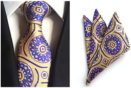 MENDENG Men's Gold Purple Paisley Silk Ties Wedding Suit Tie Hanky 2 Pieces Sets