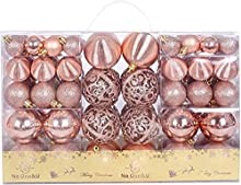 Christmas Balls Ornaments 100pcs Shatterproof for Decorating Christmas Tree,Christmas Tree Hanging Balls with Reusable Hand-held Gift Package for Holiday Xmas Tree Decorations. (Rose Gold-1, 100PC)