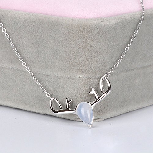 Yoome Natural Moonstone 925 Sterling Silver Elk Deer Pendant 18 pollici collana a catena regalo di San Valentino