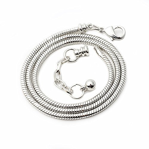 RUBYCA 5pcs 45cm Silver Tone Snake Chain Necklace European Charm Beads Lobster Clasp Making Jewelry